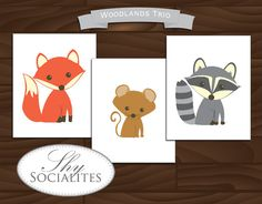 Woodland Animals Artwork / Printable Woodlad Animals Art / Fox Drawing / Raccoon / Mouse Drawing  / Woodlands Nursery Art ? Kids Room Art