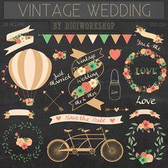 Mariage Clipart image clipart : Digital mariage Clip Art Clipart - clipart mariage vintage avec des éléments floral mariage, bridal signe