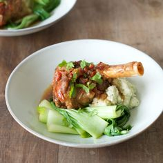 Asian-Style Lamb Shanks with Cauliflower Puree and Greens - Nadia Lim Lamb Recipes, Meat Recipes, Dinner Recipes, Cooking Recipes, Healthy Recipes, Yummy Recipes, Recipies, Cauliflower Puree, Lamb Shanks