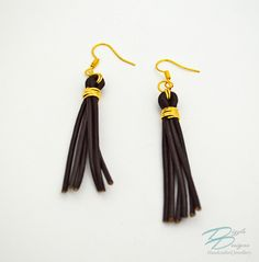 Genuine Brown Leather & Gold Wire Wrapped Tassel Erarings by DizzleDesigns on Etsy Tassel Earrings, Etsy Earrings, Drop Earrings, Urban Chic, Gold Wire, Wire Wrapping, Tassels, Brown Leather, Jewelry