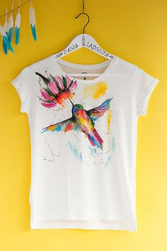 Hand painted Humming Bird T-shirt, White and Colorful, Boho, Bohemian t-shirt, Women, watercolor effect t-shirt: Fantastic Colibri #2