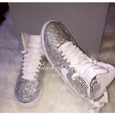 "A Touch of Chanel Swarovski Crystal ""Bling"" Nike Air Force 1 AF1 ($400) ❤ liked on Polyvore featuring accessories"