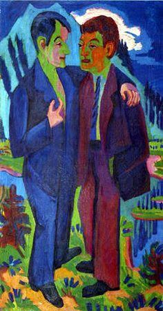Ernst Ludwig Kirchner - Los amigos de Albert Müller y Hermann Scherer. 165 x 90 Ernst Ludwig Kirchner, Davos, Emil Nolde, Hermann Scherer, Wassily Kandinsky, Amedeo Modigliani, Illustrations, Illustration Art, Karl Schmidt Rottluff
