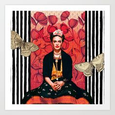 Buy Frida enamorada Art Print by jurumple. Worldwide shipping available at Society6.com. Just one of millions of high quality products available.