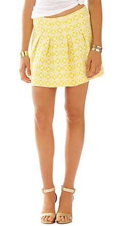 Lilly Pulitzer Leila Pleated Mini Skirt in Sunglow Yellow Daisy Chain Knit Jacquard