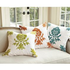 Chinon Crewel Embroidered Pillow