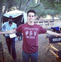 Dylan O'Brien (Stiles Stilinski) on the set of Teen Wolf.