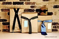 present wrapping ideas - ties or suspenders - cute!