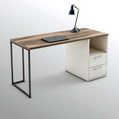 Caracole Furniture, Iron Furniture, Steel Furniture, Industrial Furniture, Office Furniture Design, Office Interior Design, Home Decor Furniture, Diy Wood Desk, Wood Office Desk