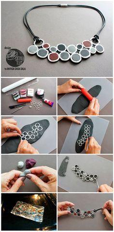 DIY Polymer Clay Circles Necklace Tutorial