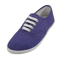 AimTrend Womens Canvas Lace Up Sneakers Purple-8 >>> Visit the image link more details.