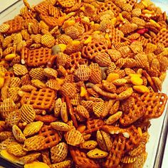homemade chex mix....my mom's is the best, people always tell us this too! :)