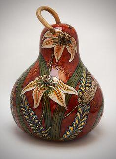 """Tiger Lilies"" by Lisa Baurmeister Acrylic ~ x Decorative Gourds, Hand Painted Gourds, Halloween Gourds, Gourds Birdhouse, Big Vases, Hawaiian Art, Tree Carving, Pumpkin Art, Arte Popular"
