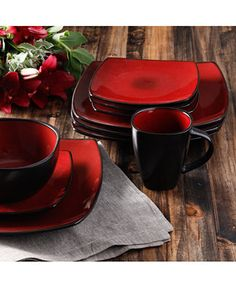 Gibson Signature Living Barcelona Red Set, Service for 4 - Dinnerware - Dining & Entertaining - Macy's Gibson Dinnerware, Red Dinnerware, Stoneware Dinnerware Sets, Square Dinnerware Set, Casual Dinnerware, Tableware, Farmhouse Dinnerware, Modern Dinnerware, Ceramic Plates