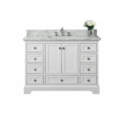 Ancerre Designs Audrey White Undermount Single Sink Birch Bathroom Vanity with Natural Marble Top (Common: 48-in x 22-in; Actual: 48-in x 22-in)