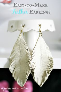 Feather Leather Earrings from Cupcakes and Crinoline…