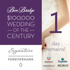 ONE day left to enter for your chance to win a $100,000 Wedding of the Century! Enter now:  https://apps.facebook.com/weddingofthecentury/contests/330642/entries/new