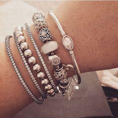 Beautiful stack by @pandoraaddict73  #Pandora #myunforgettablemoment