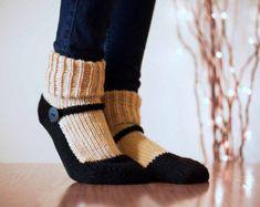 Knit Slipper Sock Adult Maryjane Slipper Sox Ecru Beige House Slippers Womens Slippers Home Slippers Black House Shoes Home Shoes