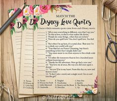 Disney Love Quotes Match Game  Printable Bohemian Bridal