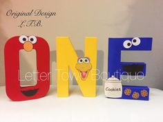 Sesame Street Letters Elmo 1st Birthday by LetterTownBoutique