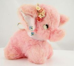 Vintage-Plush-Rushton-Elephant-Pink-Floral-Ribbon-and-Fabric-Flowers-in-Ear