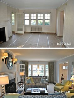 Ken Gemes Interiors - Greenfield House - Living Room - Before and After