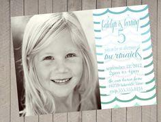 Mermaid Theme Aqua Green  Birthday Invitation Digital Printable Photo. $16.00, via Etsy.