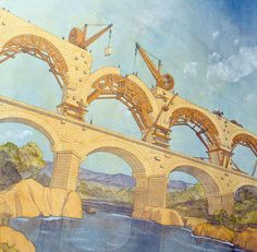 Roman aqueduct on the Pont du Gard in Nîmes, Gaul by Jean-Claude Golvin