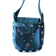 Mini Mexican Leather Tooled Purse - Raven- www.shopsweetthreads.com