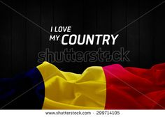 I Love My Country Romania flag and wood background