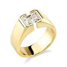 18K Yellow Gold Men's Tension Set, Emerald Cut, H Color, SI1 Clarity Diamond Designer Engagement Ring (1.50 Carat) http://www.beckers.com/Detail.aspx?ProdId=879