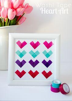 Washitapera: Cuadro de corazones de washi tape