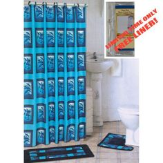 OCEAN BLUE DOLPHIN 4-Piece Bathroom Set: 2-Rugs/Mats, 1-Fabric Shower Curtain, 12-Fabric Covered Rings PLUS FREE Clear Vinyl Liner! , http://www.amazon.com/dp/B00AKOMJAU/ref=cm_sw_r_pi_dp_gSeKrb1XGY3RY