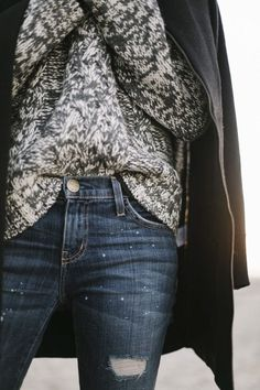 knit sweater & jeans #style #fashion