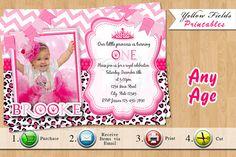Princess Birthday Invitation Hot Pink and by YellowFieldsDesigns