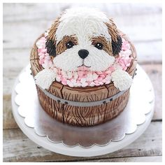 """School of home pastry"" Pretty Cakes, Cute Cakes, Beautiful Cakes, Amazing Cakes, Fondant Dog, Fondant Cakes, Cupcake Cakes, Puppy Birthday Cakes, Puppy Birthday Parties"