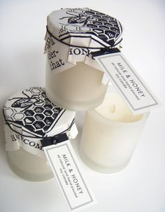Milk and Honey Candle in Frosted Glass  By Sweet by sweetpetula, $24.00