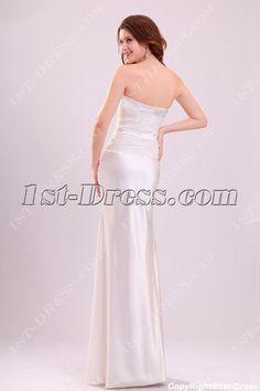 Simple Sheath Satin Casual Wedding Gown:1st-dress.com
