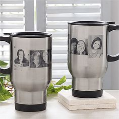 COOL! You can personalize a travel coffee mug with your favorite photos! PMall makes it super easy and affordable! It's the Photo Collage Personalized Stainless Steel Travel Coffee Mug - great gift idea for Father's Day or Mother's Day, too! #Coffee #Travel #Stainless