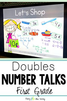 These Number Talks reinforce the DOUBLES strategy when adding and subtracting within They help develop mental computational fluency. They meet first grade and second grade common core math standards. First Grade Lessons, First Grade Activities, Teaching First Grade, First Grade Classroom, First Grade Math, Math Lessons, Math Fact Practice, Math Talk, Math Fact Fluency