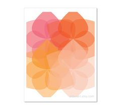 Geometric Flowers Digital Print Modern Home Decor by AldariArt
