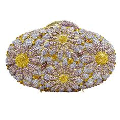 Daisy Floral Luxury Crystal Evening Bag Ladies Handbag Rhinestone Clutch Bag Bride Wedding Party_7     https://www.lacekingdom.com/