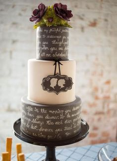 This couple had their entire love story written on their wedding cake. How adorable!