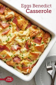 Prep 25 MIN Total 3 HR 0 MIN Servings 8 This clever egg bake takes its flavor and ingredient cues from classic Eggs Benedict—think English muffins, Canadian bacon, eggs, herbs and hollandaise. Mexican Breakfast Recipes, Breakfast Dishes, Breakfast Time, Breakfast Casserole, Egg Dishes For Brunch, Breakfast Crowd, Overnight Breakfast, Bacon Recipes, Egg Recipes