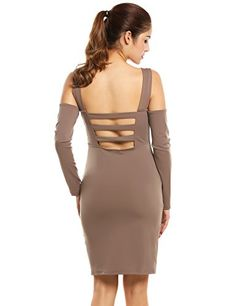 Zeagoo Womens Sexy Bandage Party Evening Dresses Backless Mesh Dress Khaki XL -- Check out this great product.