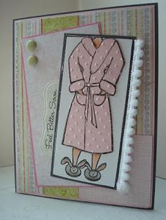 A get well card. I paper pieced the robe by stamping the robe onto pink card stock and then running it through the Cuttlebug with the Swiss Dots Embossing Folder to make it look like chenille.  The sketch is by MFT (MFTWSC99).  I added pom pom trim for more coziness.
