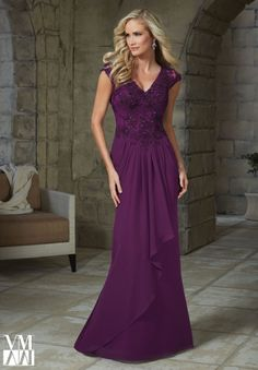 Evening Gown 71232 Beaded Lace Appliques on Chiffon