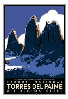 Free shipping  Torres del Paine Patagonia by IlustradorJotaLillo, $30.00