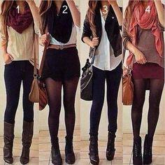 1. Camisa rosê + jeans escuro + lenço vermelho + bota marrom  2. Meia preta + shorts preto + cinto fino + camisa jeans + lenço preto  3. Jeans escuro + camisa rosê + blazer preto + bota salto  4. Meia preta + saia magenta + blusa pelúcia + lenço rosa + angle boots